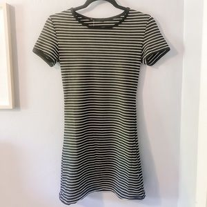 Black & White striped fitted T-shirt dress